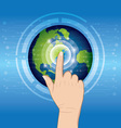 world technology with hand pushing vector image vector image