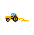yellow tractor with cultivator agricultural vector image