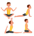 yoga man poses set girl yoga exercise vector image