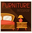 Interior with furniture in retro style vector image
