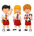 funny three student cartoon vector image