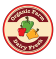 A round dairy fresh and organic farm logo with vector image vector image