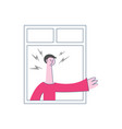 angry man threatening gesture of the window vector image vector image