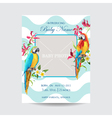 Baby Arrival Card with Photo Frame with Parrots vector image
