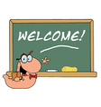 Bookworm By A Welcome Class Room Chalkboard vector image