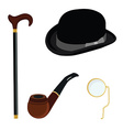 Bowler hat monocle smoking pipe and walking stick vector image