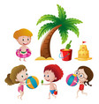 boys and girls playing on beach vector image vector image