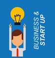 businessman arms up bulb idea business and start vector image