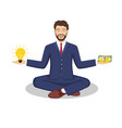 businessman found his balance with idea and money vector image vector image