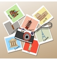 camera with photographs global landmarks vector image