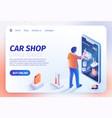 car shop application on smartphone landing page vector image