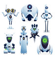 cartoon robots cyborg characters toys set vector image