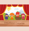 children on stage kids in fruit costumes perform vector image vector image