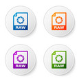 color raw file document icon download raw button vector image vector image