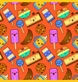 cute seamless pattern with cartoon food decoration vector image
