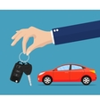 Dealer giving keys chain to a buyer hand vector image vector image