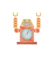 drawing robot clock laungh rocket smile vector image
