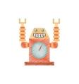 drawing robot clock laungh rocket smile vector image vector image