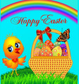 festive basket with painted egg and chicken vector image