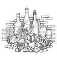 graphic wine glasses and bottles decorated with vector image vector image