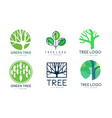 green tree logo templates collection abstract vector image vector image