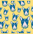 happy dog bull terrier black and white vector image vector image
