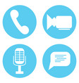 icon set video and audio mic speech bubble and vector image vector image