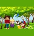 international children kids reading in the park vector image