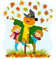 kids and a scarecrow in autumn vector image
