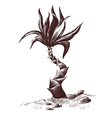 palm sketch wood engraving vector image vector image