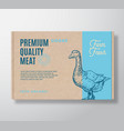 premium quality goose meat packaging label vector image