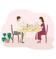 romantic family dinner valentines dinner flat vector image vector image