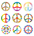 set of abstract peace symbols vector image vector image
