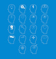 set of brain activity icons cut from white paper vector image