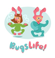 set of cartoon bugs insects funny friendly vector image vector image