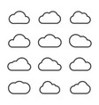 set of cloud line icon various style vector image vector image