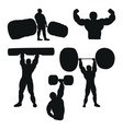 set of male athlete powerlifter working out with vector image