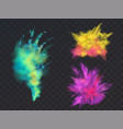 set of powder explosions for holi fest vector image vector image
