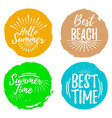 set of summertime label font with brush summer vector image