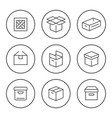 set round line icons box vector image vector image