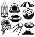 set space design elements spaceman shuttle ufo vector image