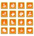 shop navigation foods icons set orange square vector image vector image