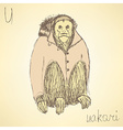 Sketch fancy uakari in vintage style vector image vector image