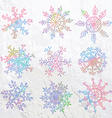 Snowflakes background with ornate design vector image