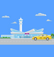 solid modern airport terminal building and yellow vector image