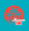 summer time 80s retro palm trees on a sunset vector image vector image