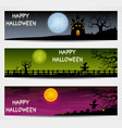 three halloween banners with castle and scarecrow vector image vector image