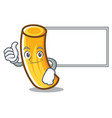 thumbs up with board tortiglioni pasta character vector image vector image