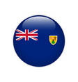 turks and caicos islands flag on button vector image