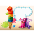 Two monsters near the giant ice cream vector image vector image